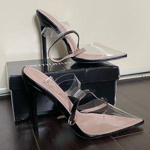 Black Clear Ankle Strap Heels